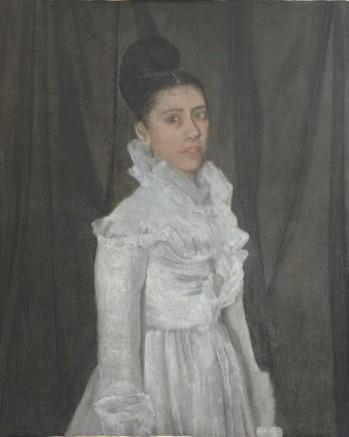James Abbott McNeill Whistler, Symphony in White. The Girl in the muslin Dress / Symfonie in wit. Meisje in mousseline jurk, ca. 1870, olieverf op doek, Singer Laren, Schenking Anna Singer-Brugh 1956.