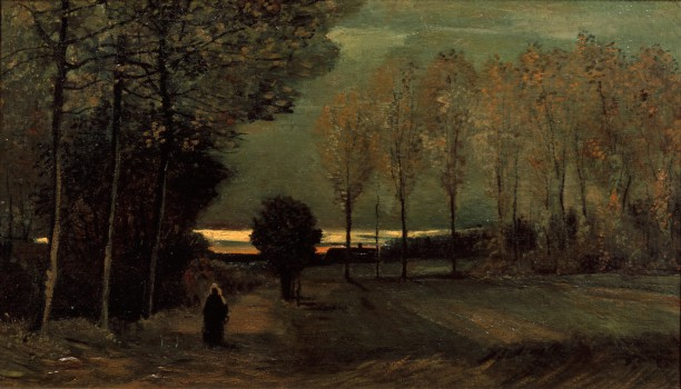 Vincent van Gogh (1853-1890), Tegen de avond, 1885 , olieverf op doek, geplakt op paneel, 53,3  x 92,6 cm, collectie Centraal Museum, Utrecht; schenking 1963. Foto: Ernst Moritz / Centraal Museum.