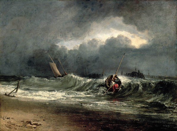 Joseph Mallord William Turner (1775-1851), Fishermen upon a lee-shore in squally weather, olieverf op doek, Southampton City Art Gallery, Hampshire.