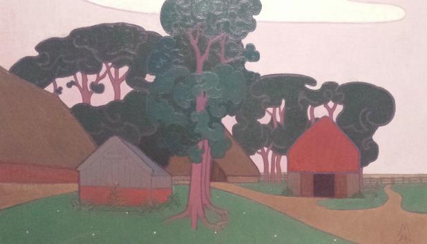 Simon Moulijn (1866-1948), Drentse boerderij te Diphoorn (detail), 1894, langdurig bruikleen Gemeentemuseum den Haag. Foto: Evert-Jan Pol.