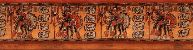 Rollout van een vaas met 4 krijgers, 600 - 900 na Christus, keramiek, collectie Fundación La Ruta Maya, Guatemala.