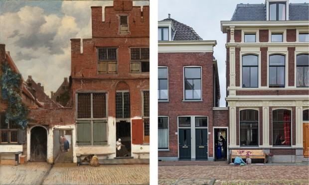 Links: Het straatje van Johannes Vermeer. Rechts: de locatie nu.