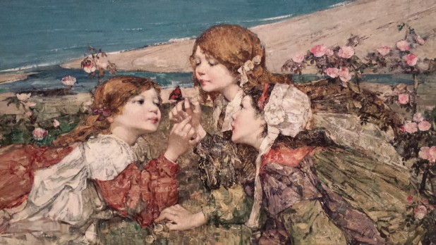 Edward Atkinson Hornel, Sea Shore Roses (detail), 1906, olieverf op doek, City Art Centre, Edinburgh Museums and Galleries.