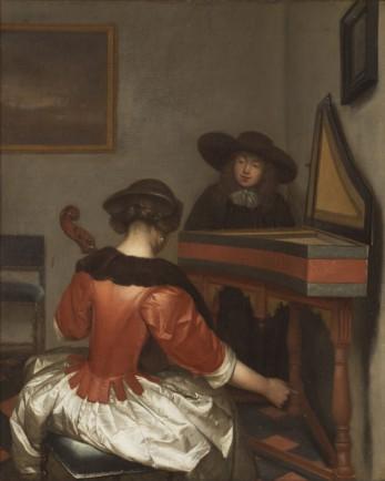 Gerard ter Borch (1617-1681) Musicerend paar, olieverf op doek, collectie Stedelijk Museum Zwolle.