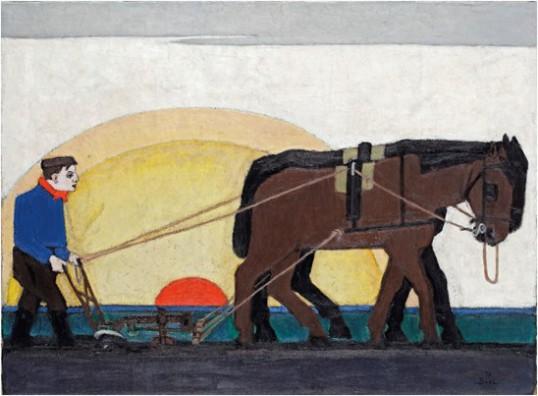 Bart van der Leck, Ploegen, olieverf op doek, 54 x 73 cm, collectie Singer Laren.