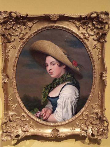 P.C. Wonder, Jonge vrouw met strohoed en roos, ca. 1835-1840, particuliere collectie.