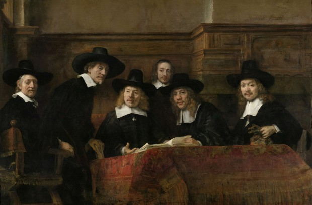 Rembrandt, De waardijns van het Amsterdamse lakenbereidersgilde,  bekend als De staalmeesters, 1662, Rijksmuseum,  Amsterdam.