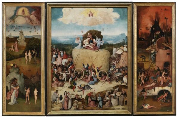 Jheronimus Bosch, Hooiwagen-triptiek (geopend), ca.1515. Paneel, 133 x 100 cm (middenpaneel), 147 x 56 cm (zijpanelen). Collectie Museo Nacional del Prado, Madrid.