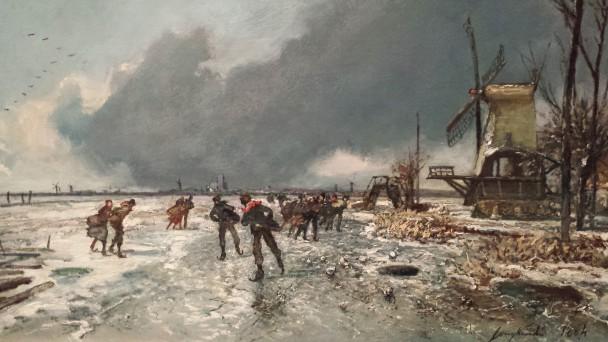 Johan Barthold Jongkind (1819-1891), Wintergezicht met schaatsers, 1864, collectie Teylers Museum. Foto: Evert-Jan Pol.