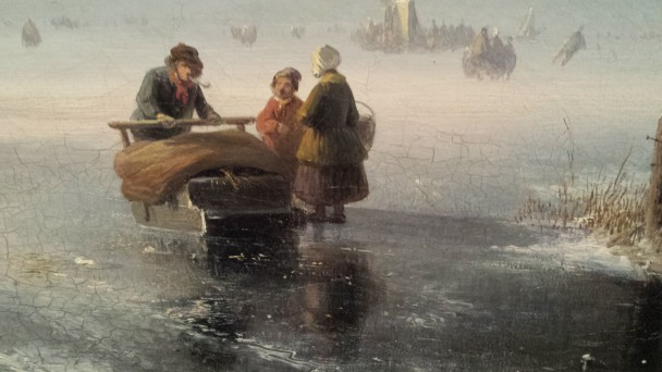 Detail uit Winterlandschap van Jan Jacob Spohler (1811-1866), collectie Teylers Museum. Foto: Evert-Jan Pol.