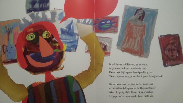 Twee pagina's uit Karel Appel uit de kapperszaak in de Dapperstraat, van Imme Dros en Harrie Geelen.