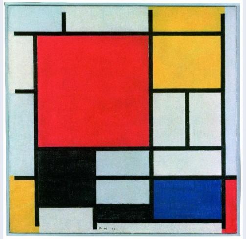 Piet Mondriaan, Compositie met groot rood vlak, geel, zwart, grijs en blauw, 1921, olieverf op doek, Gemeentemuseum Den Haag.