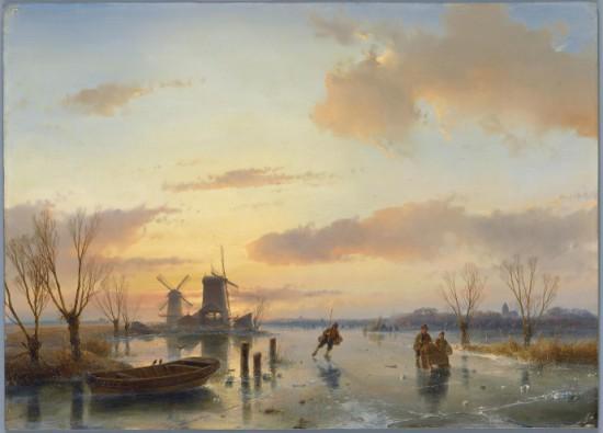 Andreas Schelfhout (1787-1870), Winterlandschap met twee molens, 1846, collectie Teylers Museum, Haarlem.