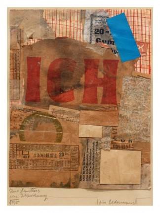 Kurt Schwitters, Eine Ichzeichnung, 1935, collage op papier. Collectie Stedelijk Museum Amsterdam, schenking Martijn en Jeannette Sanders. Foto Gert Jan van Rooij.