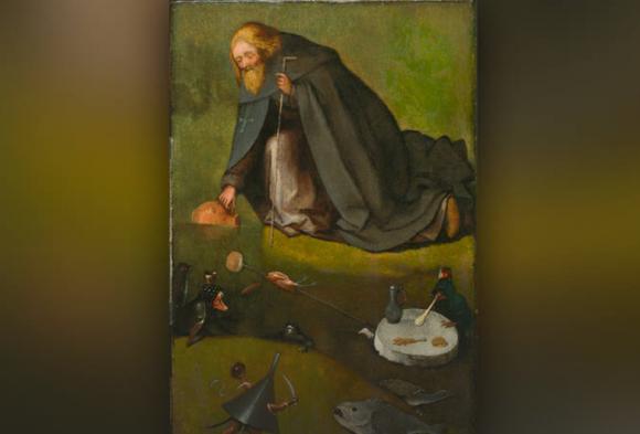Jheronimus Bosch (ca. 1450-1516), De verzoeking van de heilige Antonius, ca. 1500-10, olieverf op eiken, The Nelson-Atkins Museum of Art, Kansas City, William Rockhill Nelson Trust.