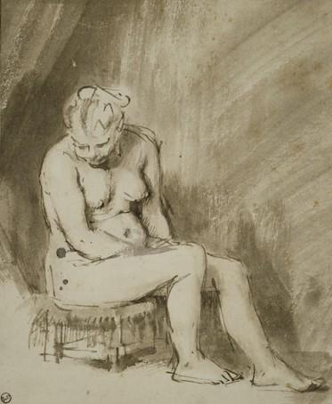 Rembrandt Harmenszoon van Rijn (1606-1669) Zittend Vrouwelijk Naakt, 1654/56, The Art Institute of Chicago.
