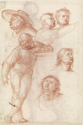 Fra Bartolommeo, Studie voor een bijfiguur in het schilderij 'Madonna della Misericordia', ca. 1515. Tekening. Museum Boijmans Van Beuningen (Collectie Koenigs).