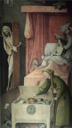 Jheronimus Bosch, De Dood en de vrek, ca.1500-10, Washington, National Gallery of Art, Samuel H. Kress Collection. Foto: Evert-Jan Pol.