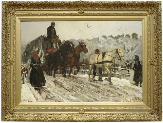 George Hendrik Breitner (1857-1923), Sleperspaarden in de sneeuw, 1893. Olieverf op doek. Collectie Dordrechts Museum.
