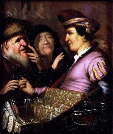 Rembrandt, De Brillenverkoper (ca. 1624), olieverf op paneel, collectie Museum De Lakenhal, Leiden.