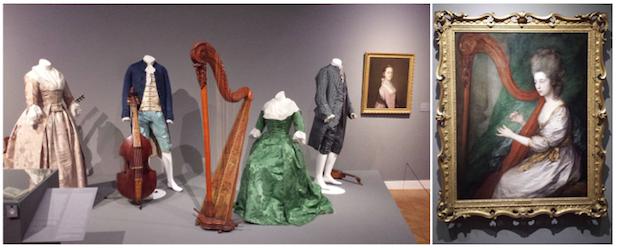 Links: opstelling met kleding en instrumenten, met rechts portret van Caroline, Mrs. Nathaniel Acton. Rechts: portret van Louisa, Lady Clarges. Foto's: Evert-Jan Pol.