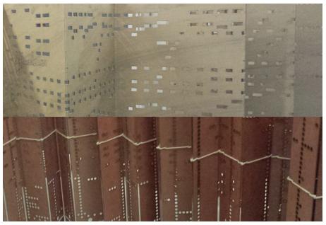 Boven: detail van orgelboek. Onder: detail van op het orgelboek gebaseerde weefboek.