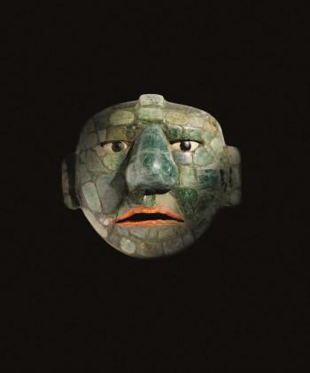 Masker gemaakt van jade, obsidiaan en schelpen, 500 - 800 na Christus, jade, collectie: Fundación La Ruta Maya, Guatemala.