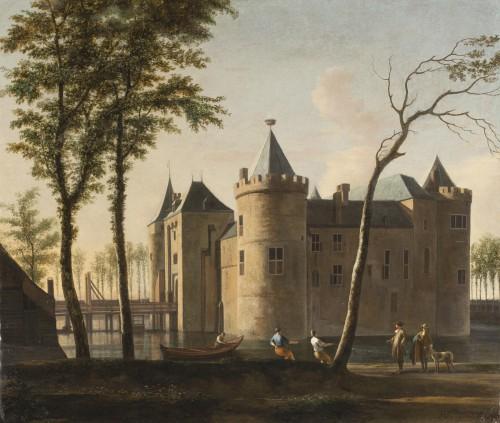 Gerrit Berckheyde (1638-1698), Zicht op de waterburcht van Muiden, Muiderslot, Muiden.