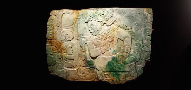Jadeplaquette uit Nebaj, Guatemala, 600-800 na Chr.. Museo Nacional de Arqueología y Etnologia, Guatemala-Stad. Foto: Evert-Jan Pol.