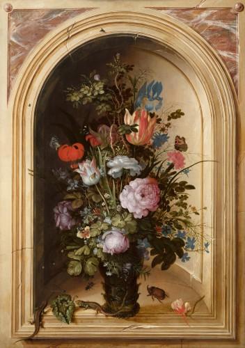 Roelant Savery (1576-1639), Vaas met bloemen in een stenen nis, 1615, Mauritshuis, Den Haag. Verworven met steun van de BankGiro Loterij, de Vereniging Rembrandt (mede dankzij haar Themafonds 17de-eeuwse Schilderkunst) en een particulier, 2016.