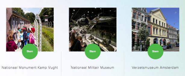Screenshot van de website van de BankGiro Loterij Museumprijs.
