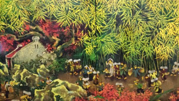Do Xuan Doan, Family Day (detail), olieverf op paneel, collectie Geert Steinmeijer.