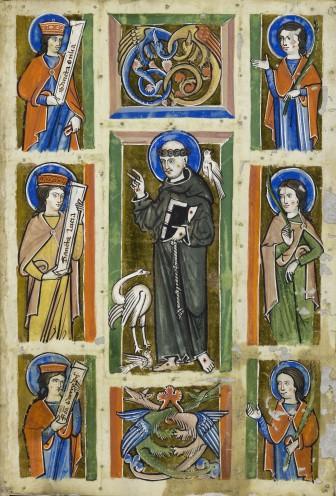 Franciscus preekt voor de vogels, miniatuur, ca. 1230-1240, Badische Landesbibliothek, Karlsruhe.