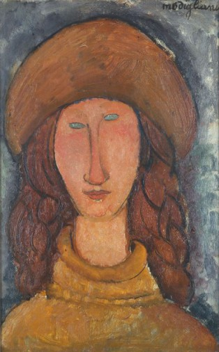 Amedeo Modigliani, Jeanne Hébuterne, 1918, olieverf op doek, 46 x 29 cm, Troyes, Musée d'Art moderne, collections nationales Pierre et Denise Lévy.