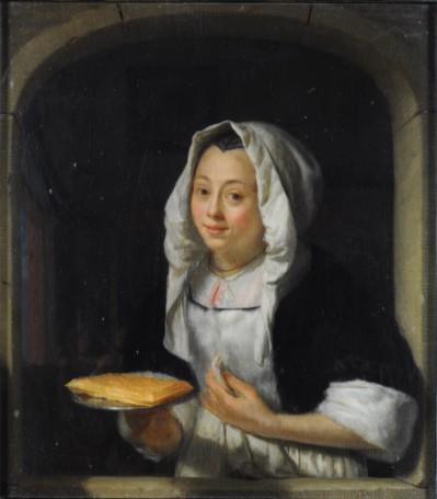 Godefridus Schalcken, Jonge vrouw die een wafel aanbiedt.
