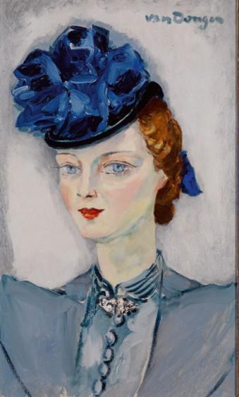 Kees van Dongen, Het blauwe hoedje, 1937, olieverf op doek, 55 x 33 cm, collectie Singer Laren.