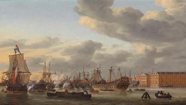 Reinier Nooms, Gezicht op het IJ met 's Lands Zeemagazijn, Het Scheepvaartmuseum, Amsterdam.