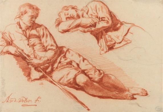 Adriaen van de Velde, Twee studies van een liggende herder, 1666-1671, collectie Rijksmuseum.