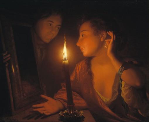 Godefridus Schalcken, Jonge vrouw die een oorhanger bewondert bij kaarslicht, ca. 1695, via Johnny van Haeften Ltd., Londen.