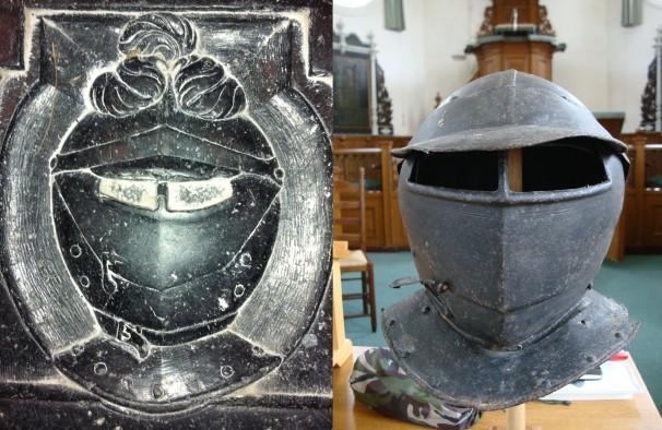 Links: de grafsteen, rechts: de helm van Schelte van Aysma.