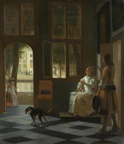 Pieter de Hooch, Het aanreiken van een brief in een voorhuis, 1670, Rijksmuseum, Amsterdam.