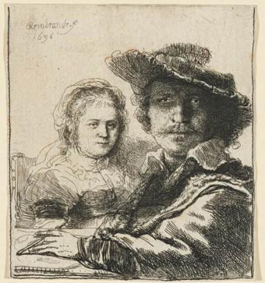 Rembrandt Harmensz. van Rijn (1606-1669), Zelfportret met Saskia, ets, 1636.
