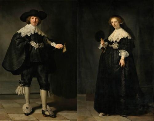 Rembrandt van Rijn (1606-1669), Portretten van Marten Soolmans en Oopjen Coppit, 1634. Olieverf op doek. Gezamenlijke aankoop van de Staat der Nederlanden en de Republiek Frankrijk, collectie Rijksmuseum en Musée du Louvre.