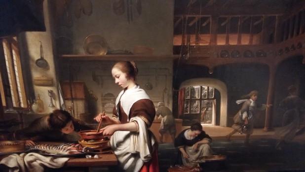 Cornelis Bisschop, Keukeninterieur met een dienstmeid die een saus bereidt, 1665, Dordrechts Museum.