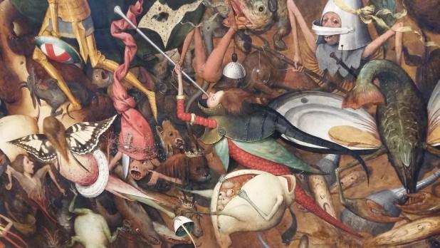 Detail uit De val van de opstandige engelen van Pieter Bruegel de Oude, Koninklijke Musea voor Schone Kunsten, Brussel. Foto: Evert-Jan Pol.