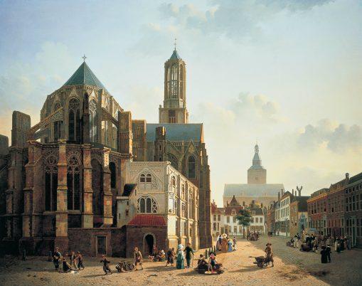 Jan Hendrik Verheyen, Gezicht op het koor en de toren van de Domkerk te Utrecht, ca. 1829, collectie Centraal Museum.