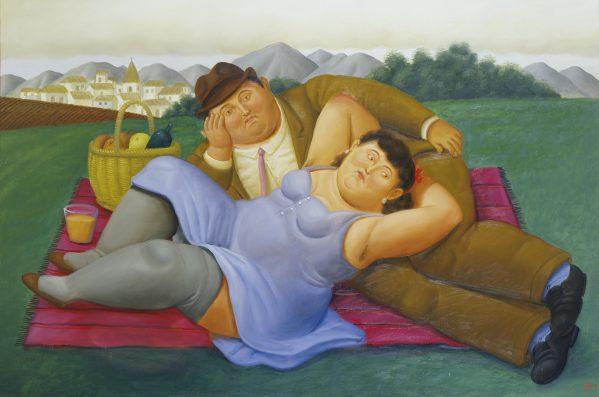 Fernando Botero, Picknick, 2001, olieverf op doek, 113 x 165 cm.