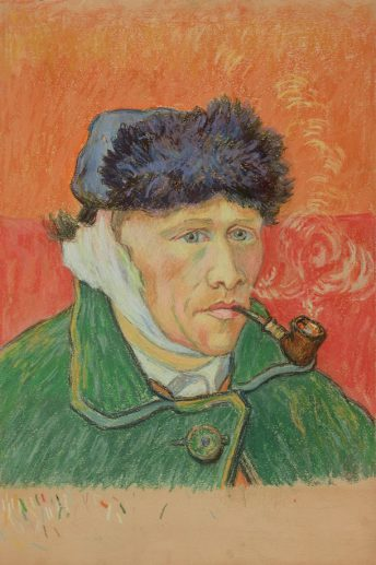 Emile Schuffenecker, Man met pijp (naar Van Goghs Zelfportret), ca. 1892-1900, krijt op papier, Van Gogh Museum, Amsterdam (Vincent van Gogh Stichting).