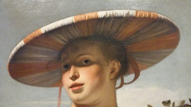 Detail uit Meisje met een brede hoed.