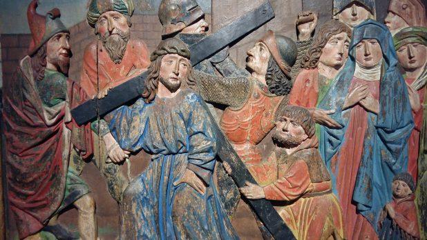 Kruiswegstatie, Simon van Cyrene helpt Christus het kruis dragen, Duitsland, 16e eeuw, Museum Catharijneconvent, Utrecht. Foto: Evert-Jan Pol.